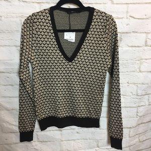 Zara Knit V Neck Sweater Large NWT